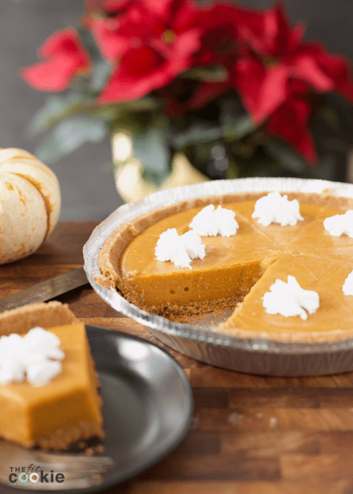 dairy free no bake pumpkin pie in a pie pan, vegan option included in this recipe