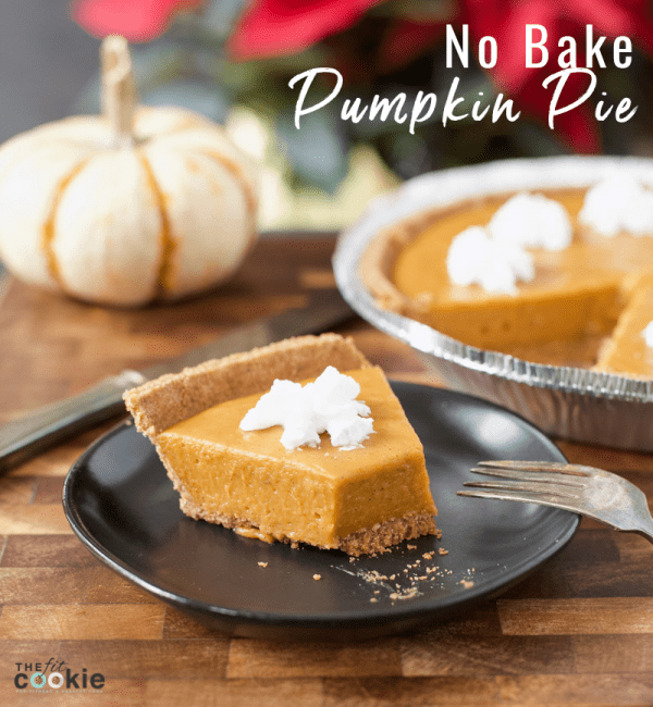 slice of dairy free no bake pumpkin pie on a plate with a bite removed