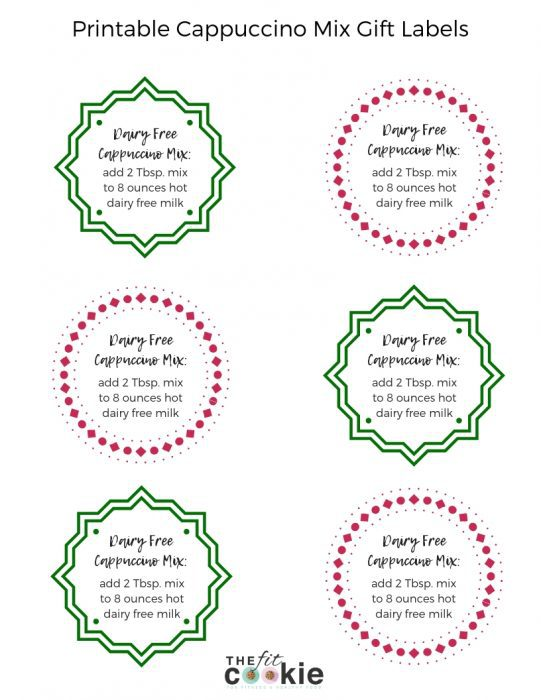 Printable gift labels for dairy free Cappuccino Mix