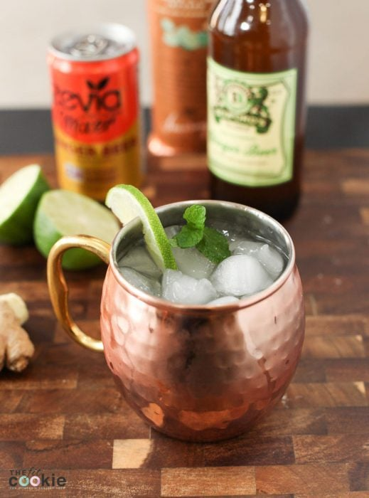 healthier and lower sugar moscow mule in a copper mug with ice