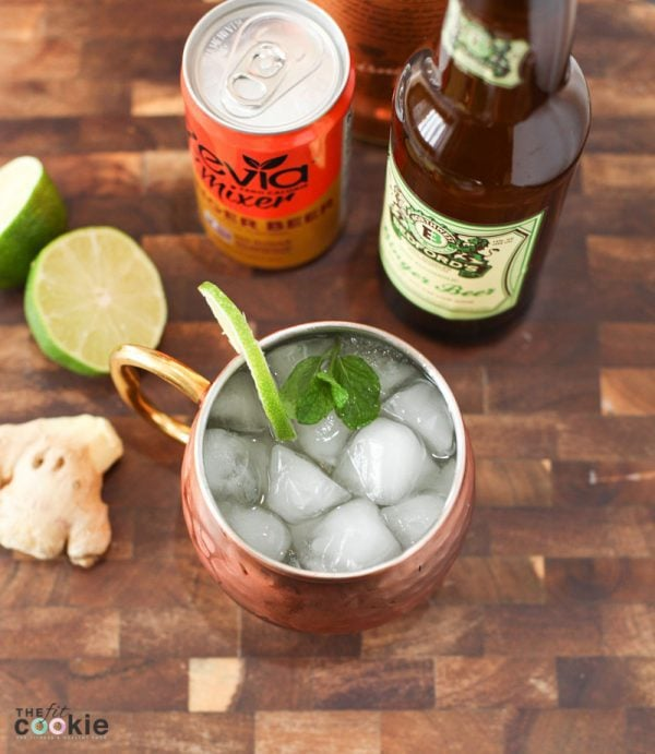 overhead photo of lower calorie and lower sugar moscow mule in a copper mug with a lime slice