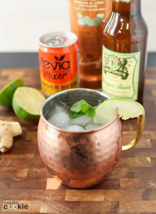 lower sugar and healthier moscow mule in a copper mug with a lime slice