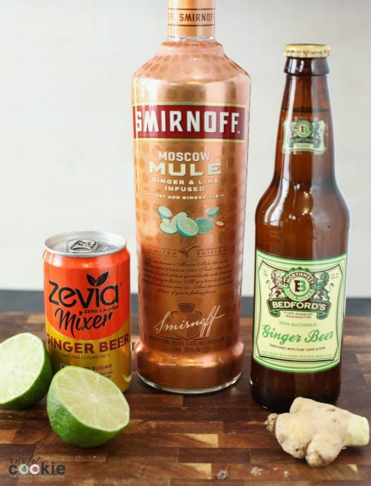 Zevia mixer ginger beer, Smirnoff moscow mule vodka, and Bedfords ginger beer: ingredients for lower sugar moscow mule