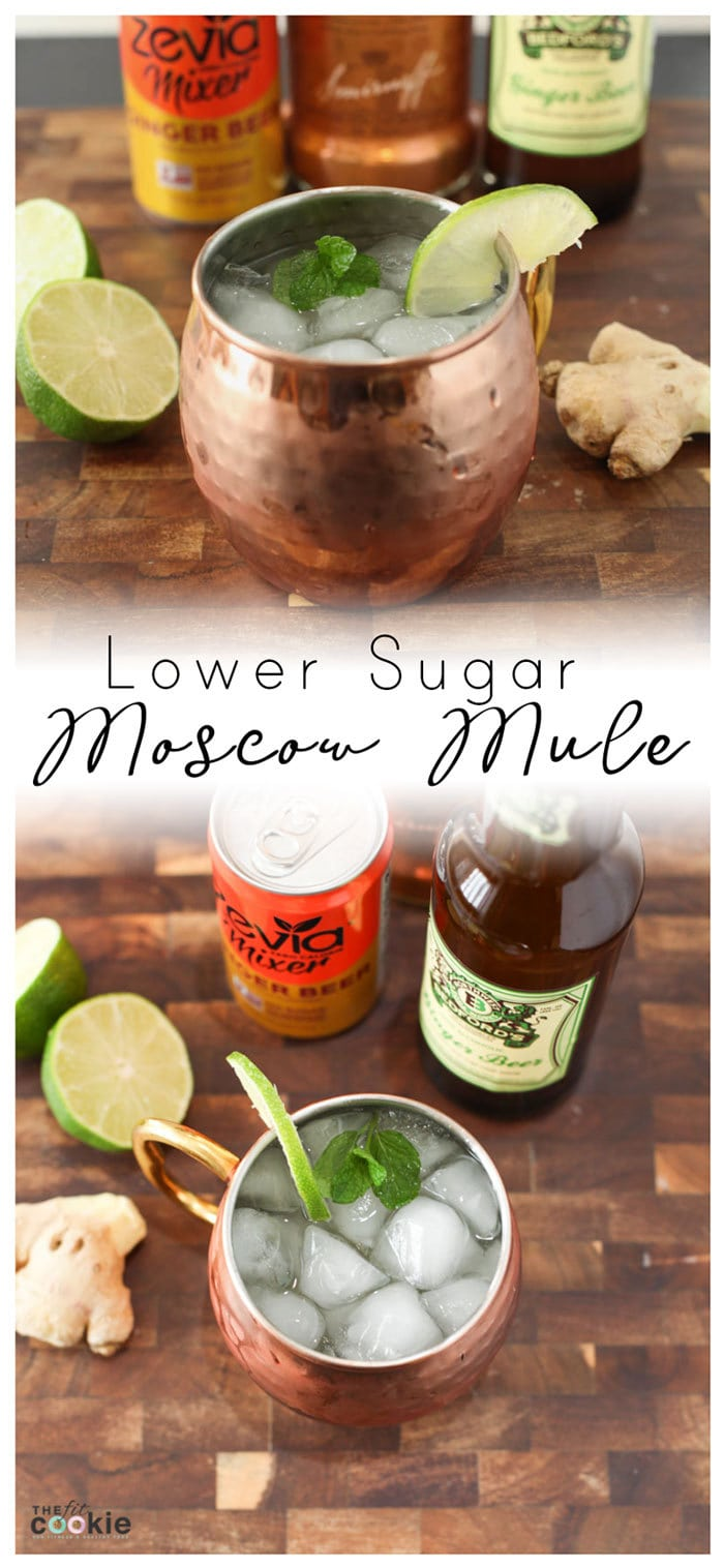 image collage of lower sugar moscow mule in a copper mug