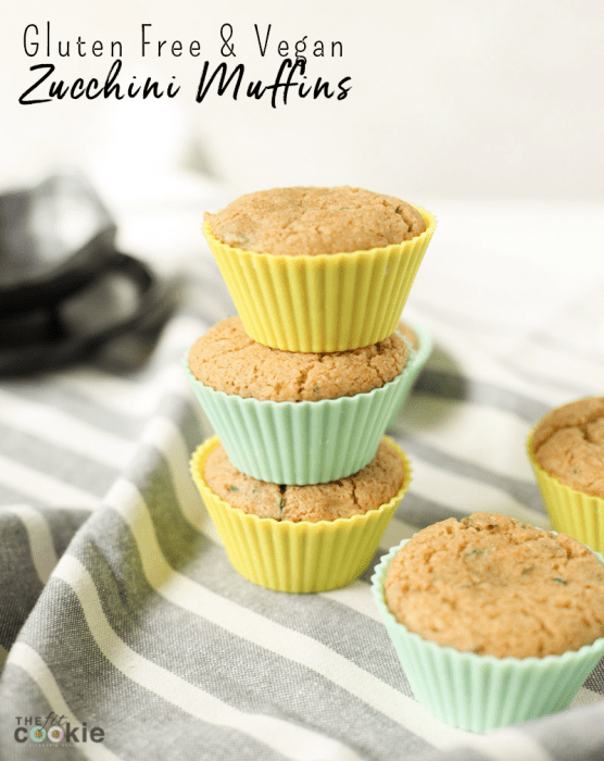 image of stacked vegan zucchini muffins with text overlay
