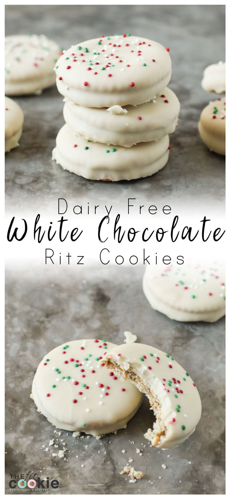 image collage of dairy free white chocolate ritz cookies on a baking sheet