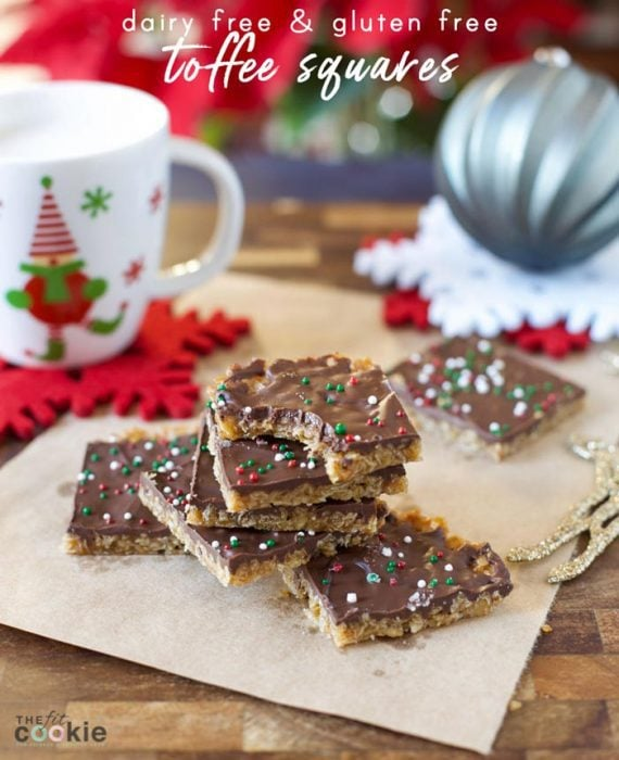 "These Gluten Free Holiday Toffee Squares are easier to make than stovetop candy, and they are dairy free! My kids call this recipe ""cheater toffee"" since it's so easy to make and tastes like toffee - @TheFitCookie #holiday #dessert #dairyfree #glutenfree"