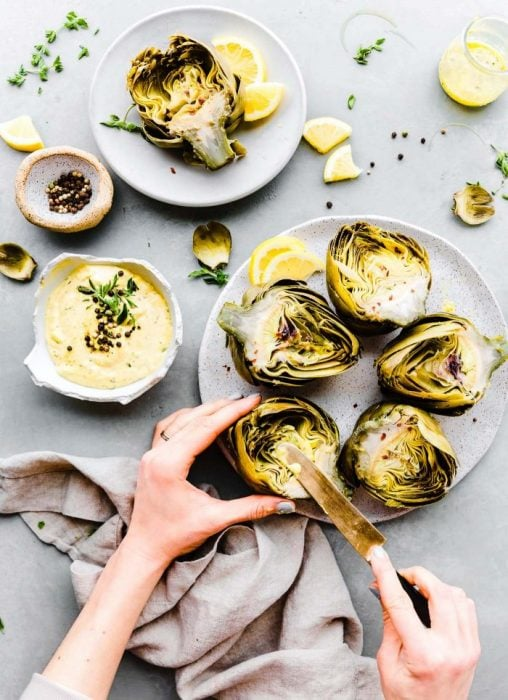 Instant Pot Steamed Artichokes with Mediterranean Aioli (paleo, dairy free) - Cotter Crunch
