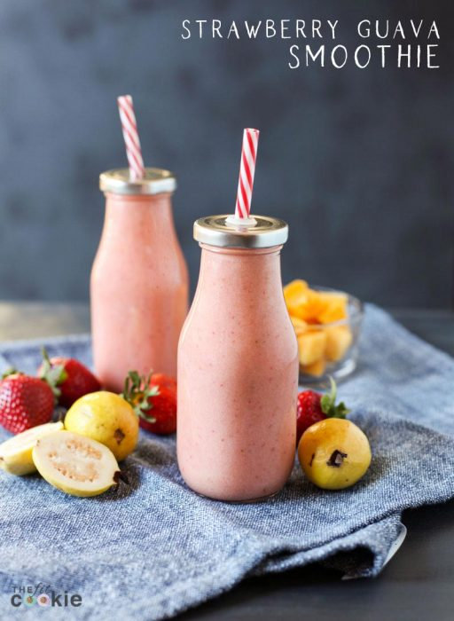 milk bottles filled with strawberry guava smoothie, with text overlay
