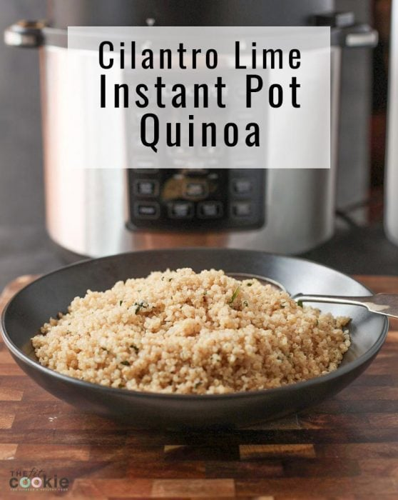 pressure cooker quinoa in a black bowl in front of an instant pot