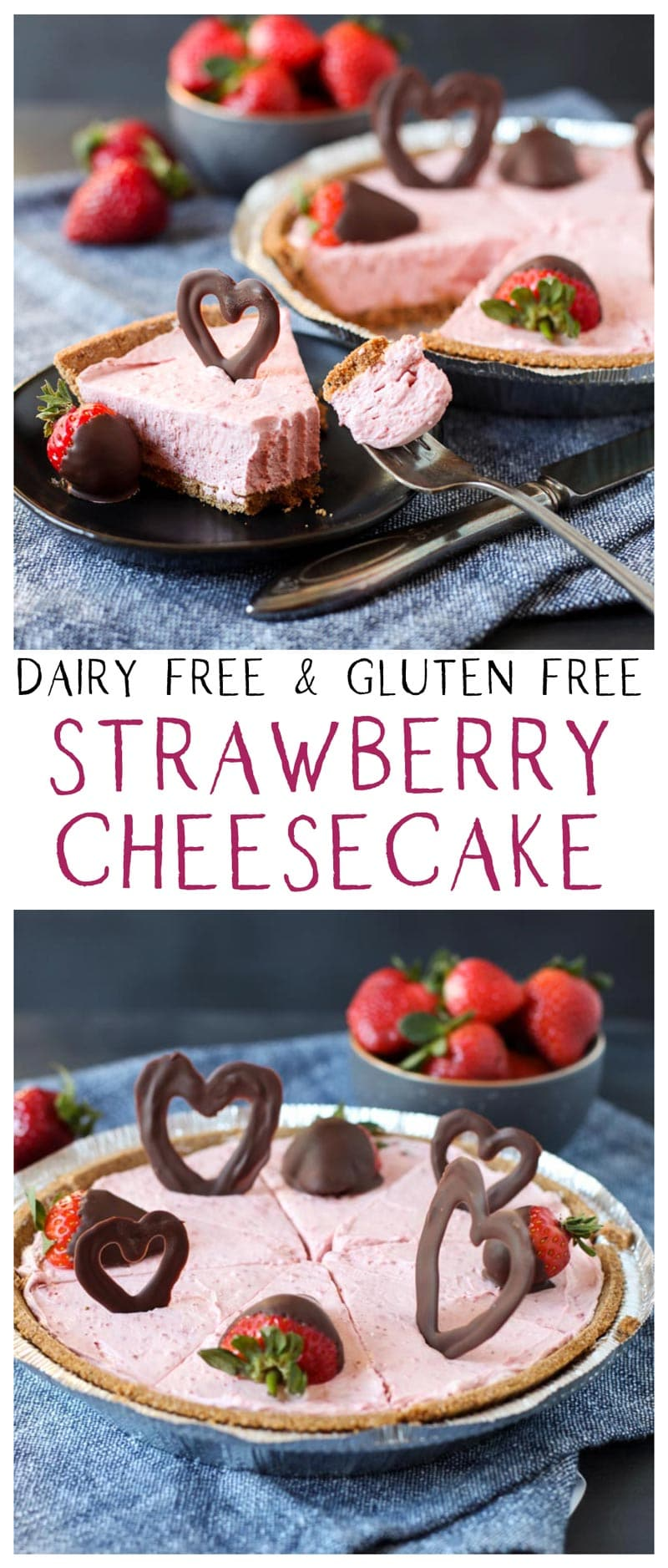 image collage of vegan strawberry cheesecake with chocolate hearts