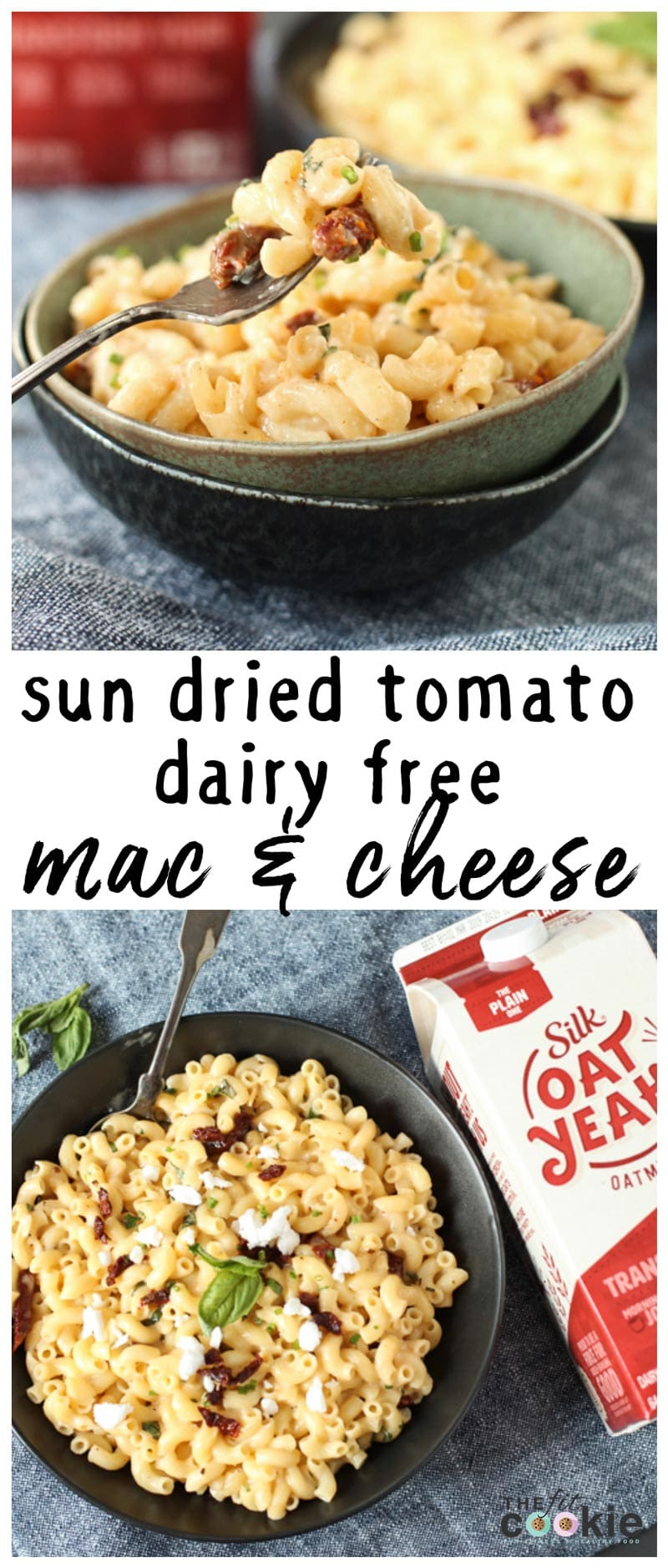 image collage of vegan dairy free mac and cheese in a bowl with Silk Oat Yeah oatmilk