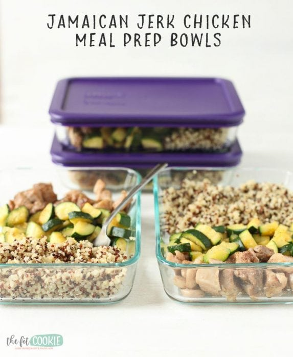 image of chicken meal prep in glass dishes with text overlay