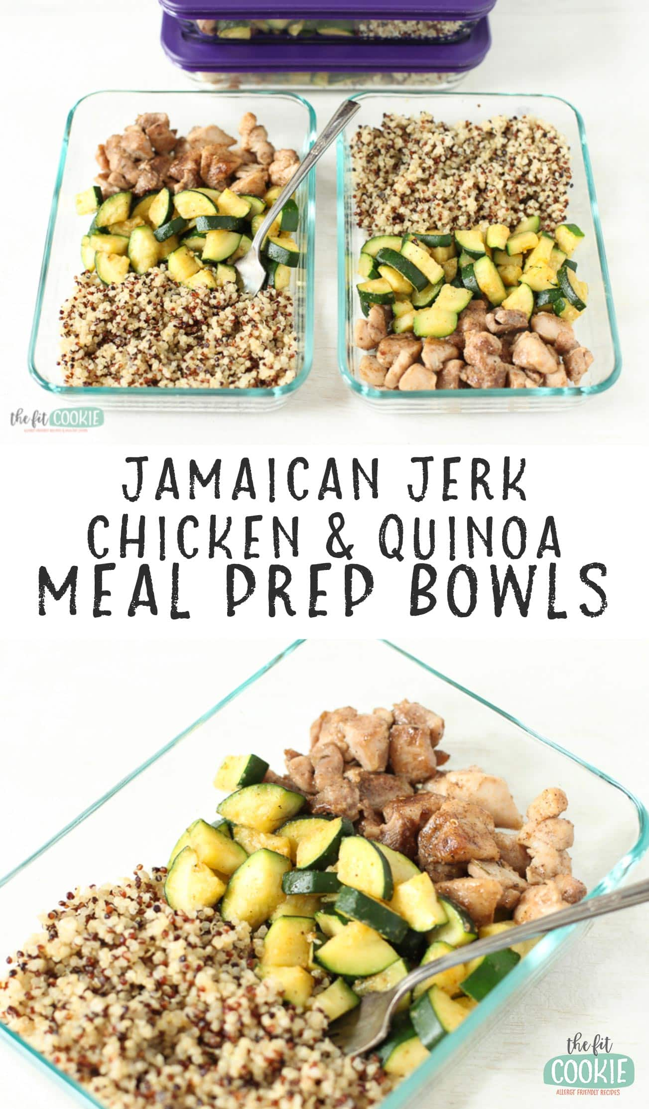 image collage of jamaican jerk chicken meal prep bowls