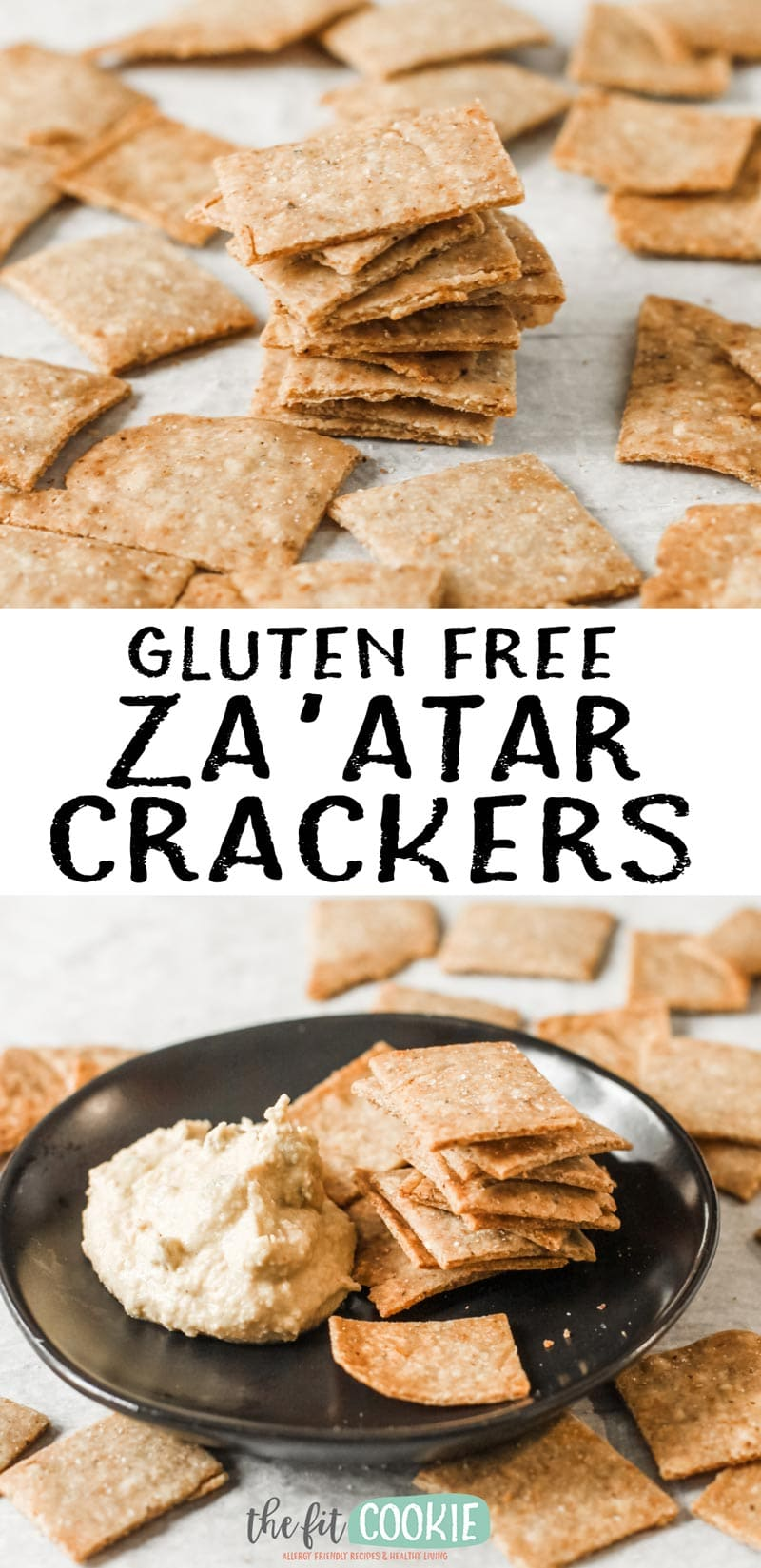image collage of gluten free za'atar crackers on parchment paper