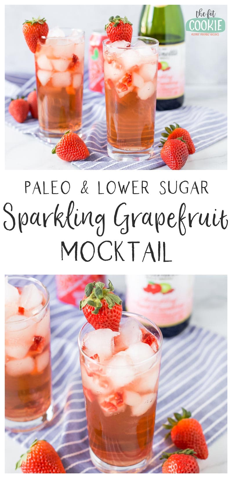 image collage of paleo grapefruit mocktail with strawberries