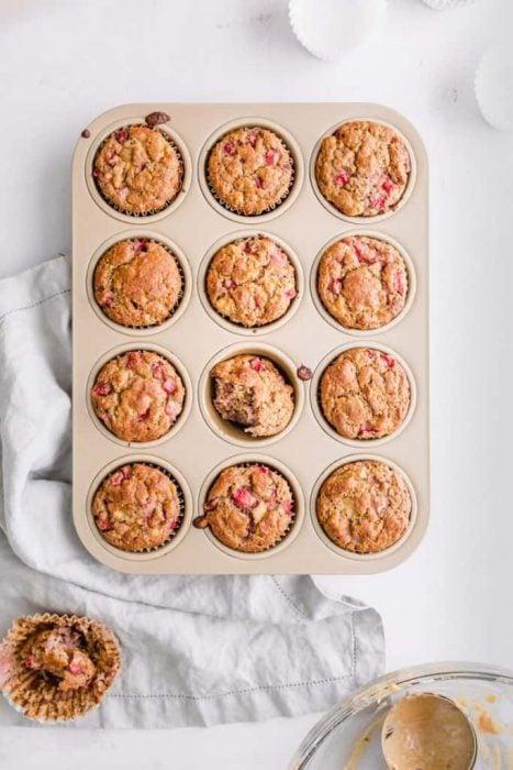 Strawberry Banana Chickpea Muffins - Bucket List Tummy
