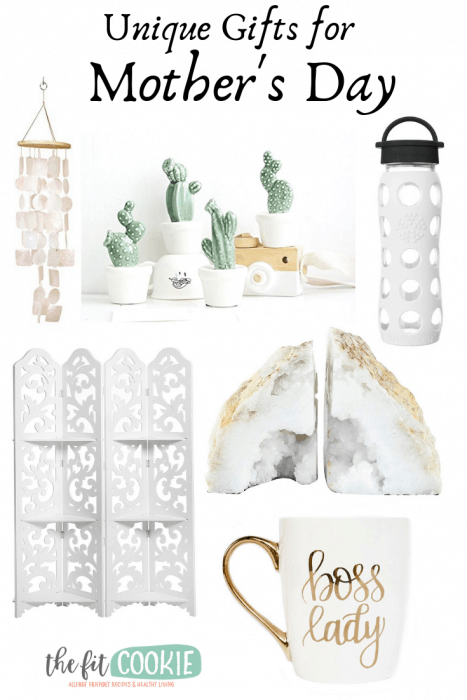 image collage of unique gift ideas for mother's day