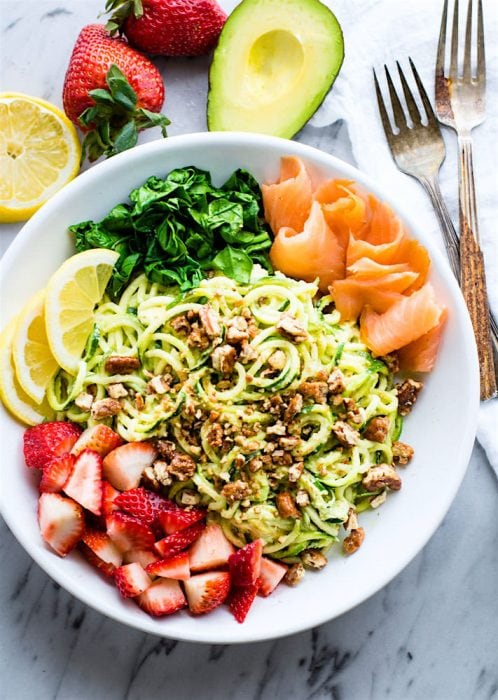 Smoked Salmon and Strawberry Zucchini Noodle Pasta Salad - Cotter Crunch
