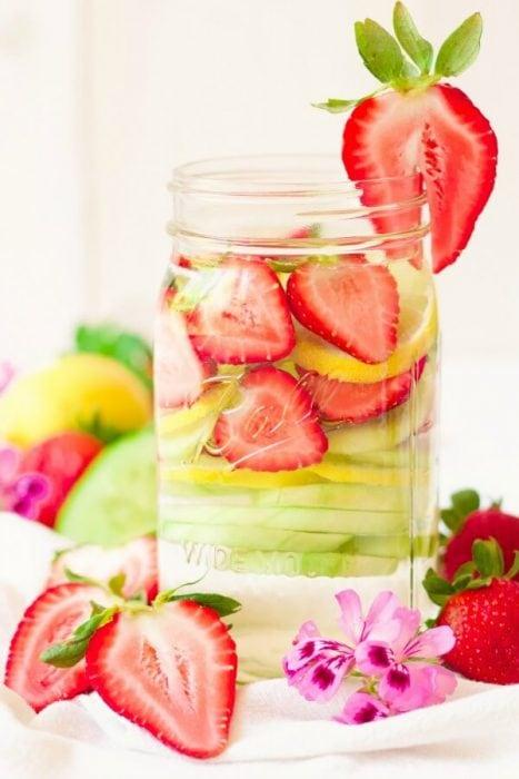 Strawberry Cucumber Lemon Water - Recipes to Nourish