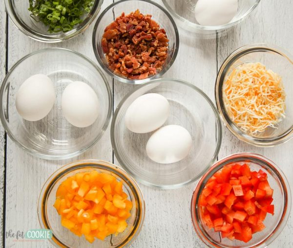 overhead photo of the ingredients needed for egg scramble cups