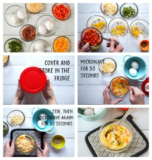 image collage of steps to make low carb egg scrambler cups (microwave omelet)