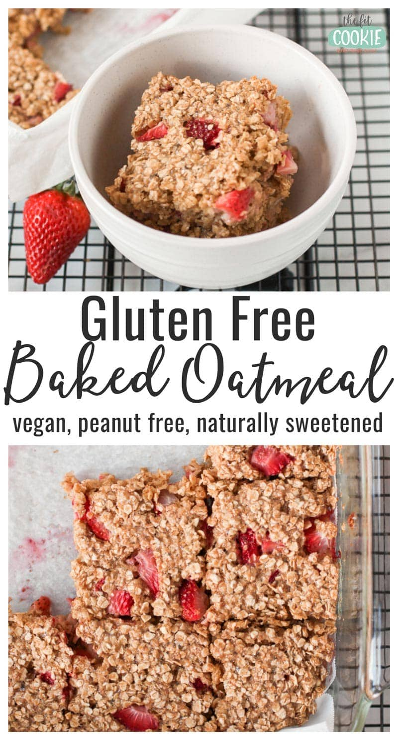 image collage of gluten free baked oatmeal in a white bowl