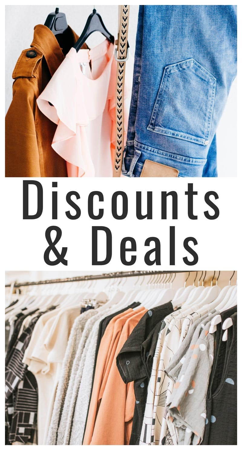 "image collage of clothing with text overlay ""discounts and deals"""