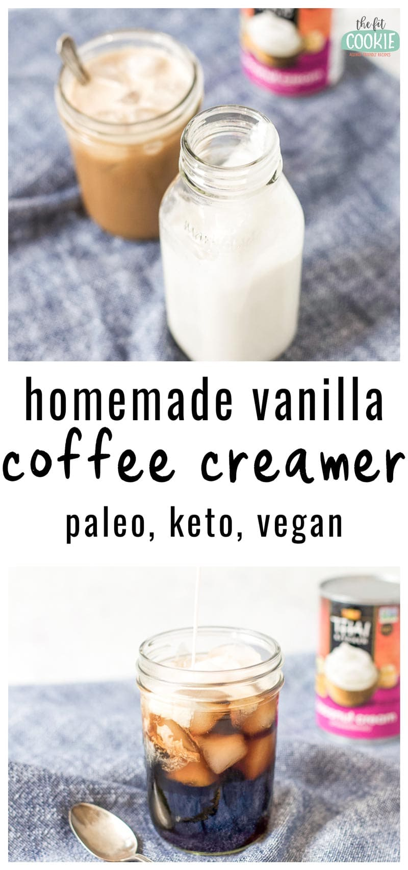 image collage of homemade vanilla coffee creamer in a glass bottle