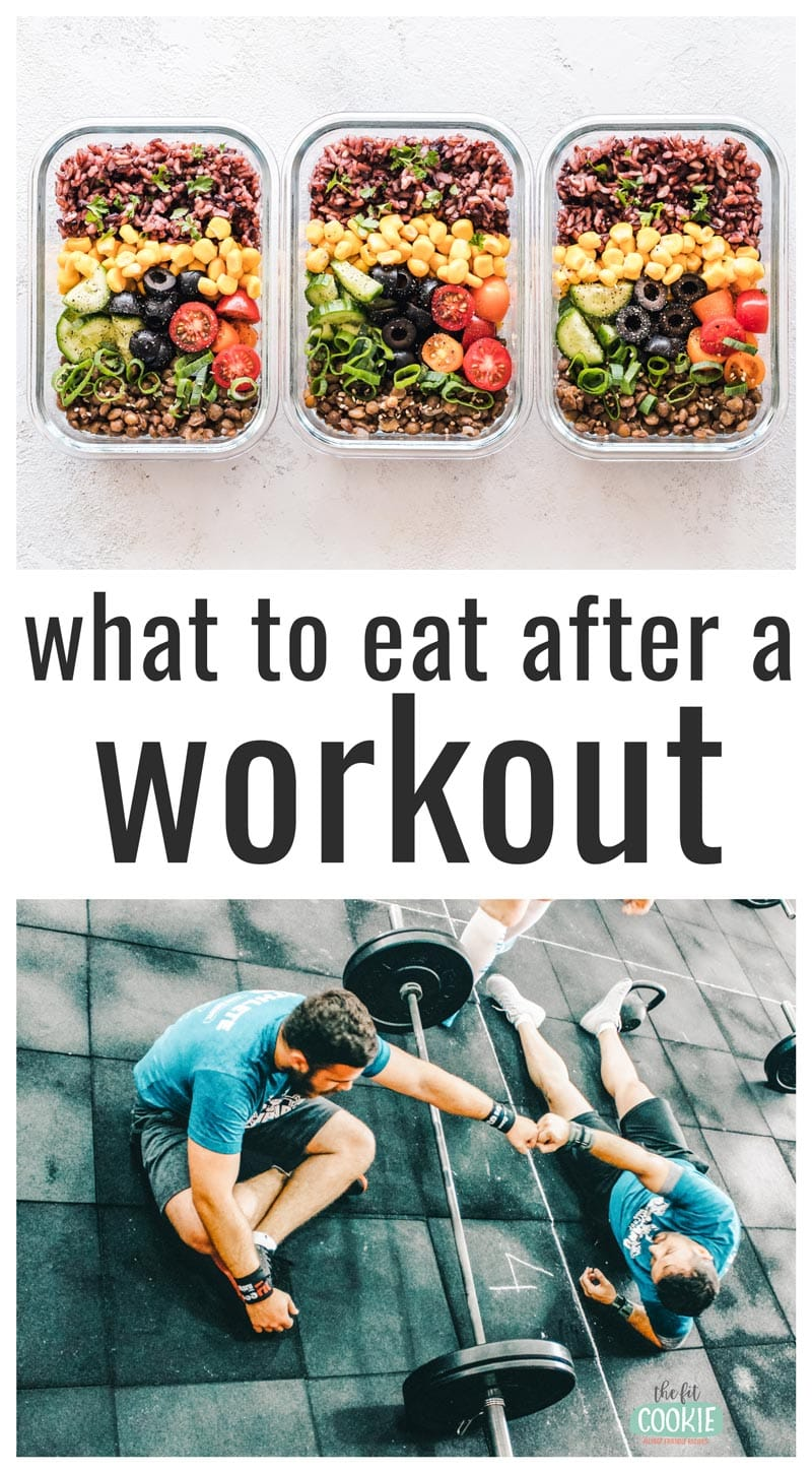 "Image collage of healthy food and men working out, with text overlay that says ""what to eat after a workout"""