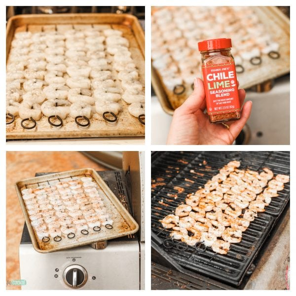 Image collage of prep and cooking steps for grilled shrimp