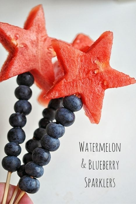 4th of July Watermelon and Blueberry Sparklers - This Healthy Table