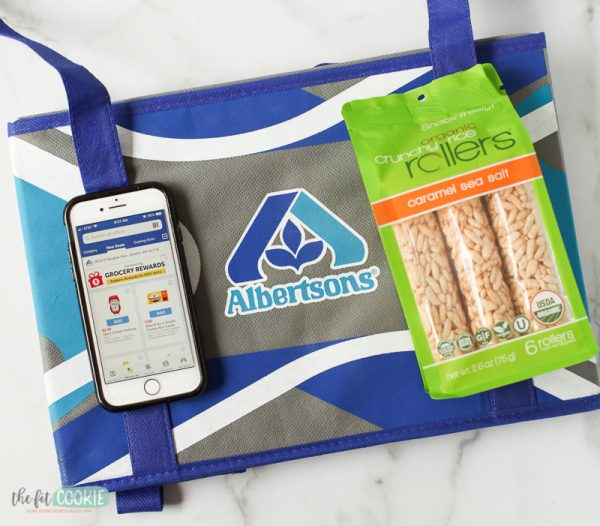 overhead photo of Albertsons shopping bag with Crunchy Rollers