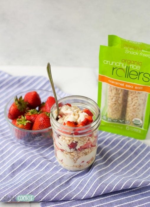 allergy friendly yogurt parfait in a jar with strawberries