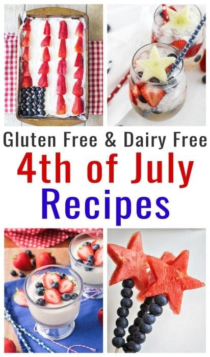 photo collage of gluten free dairy free fourth of july recipes
