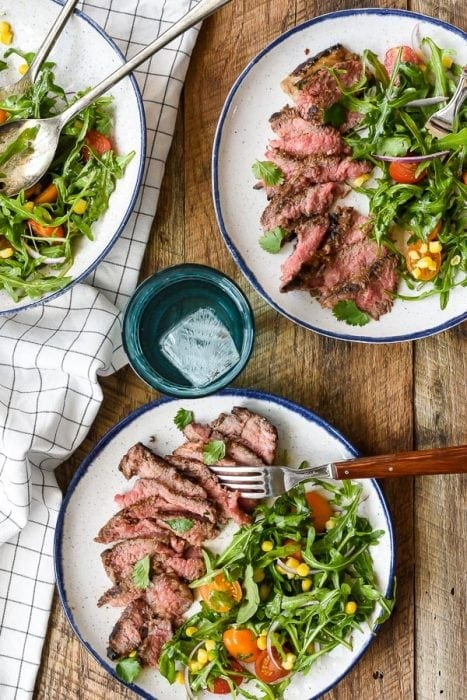 Cilantro Lime Marinated Skirt Steak with Simple Summer Salad - Neighbor Food Blog