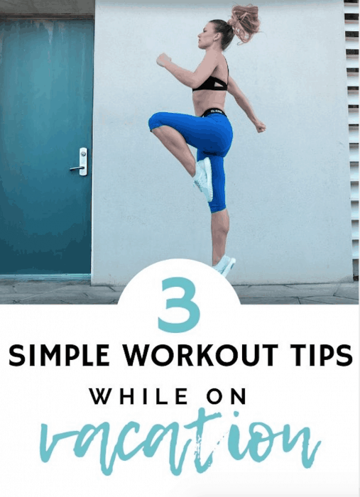 woman in blue capris doing workout outside - workout tips for vacation