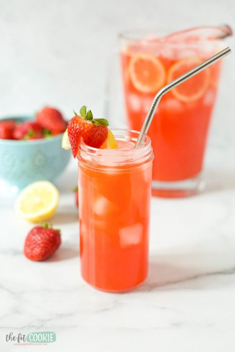 glass jar filled with paleo strawberry lemonade