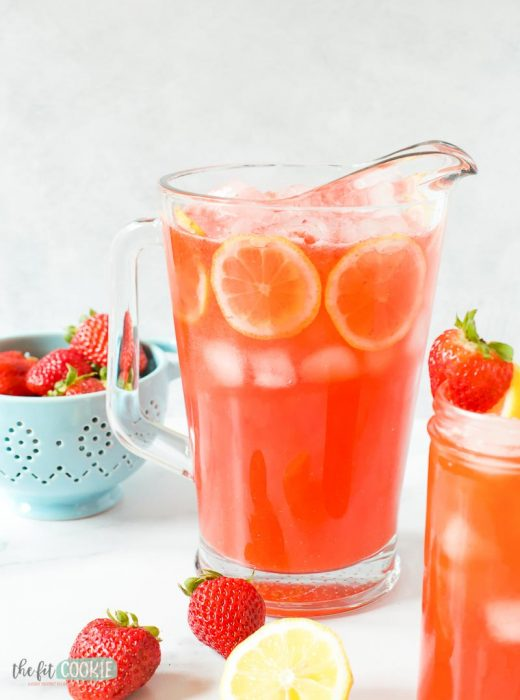 pitcher of strawberry lemonade with no added sugar