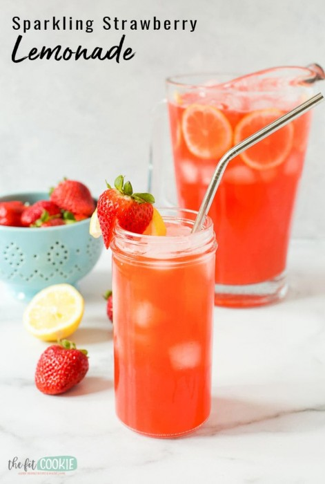 glass of strawberry lemonade with text overlay