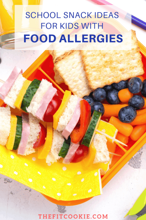 "colorful lunch box meal with text overlay ""school snack ideas for kids with food allergies"""