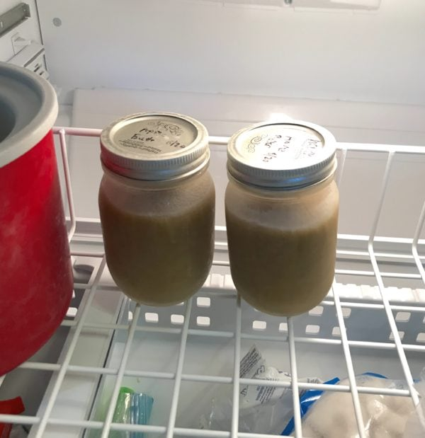 Freezing jars of apple butter - jars of pressure cooker apple butter in the freezer