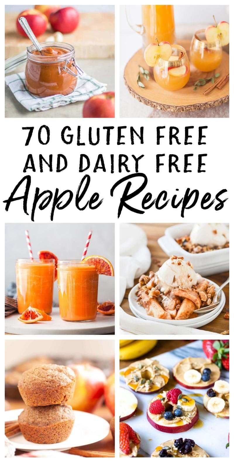 photo collage of dairy free and gluten free apple recipes for fall