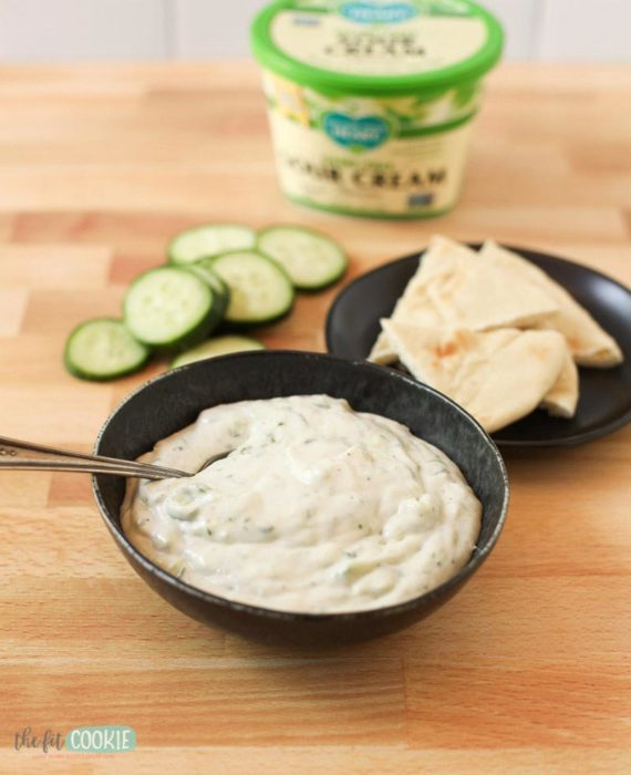 dairy free tzatziki in a black bowl