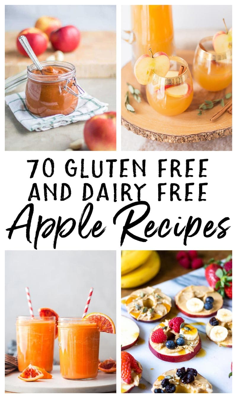 photo collage of gluten free and dairy free apple recipes for fall