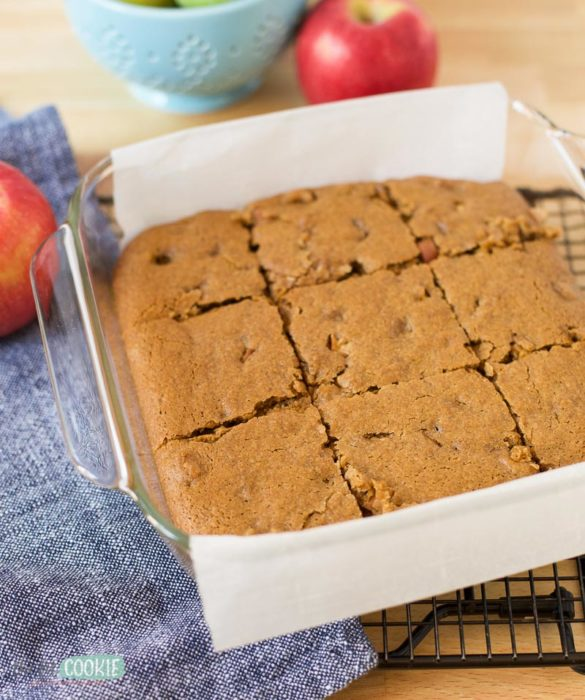 vegan blondies in a baking dish