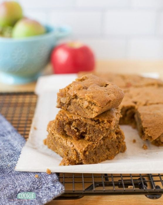 stack of gluten free apple blondies