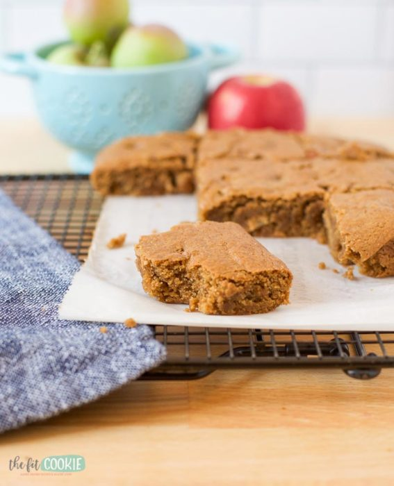 dairy free apple blondies on a cooling rack