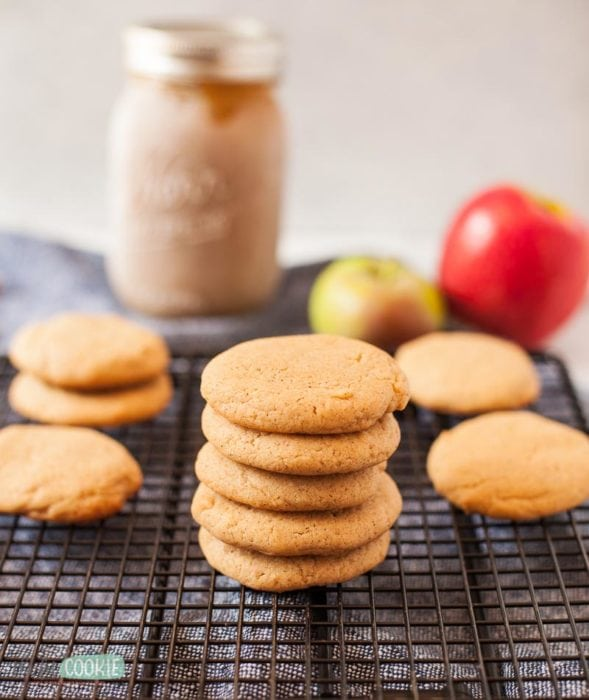 nut free apple butter brown sugar cookies on a wire rack
