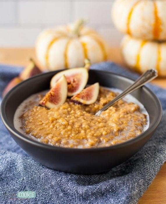 gluten free pumpkin spice oatmeal made in the pressure cooker